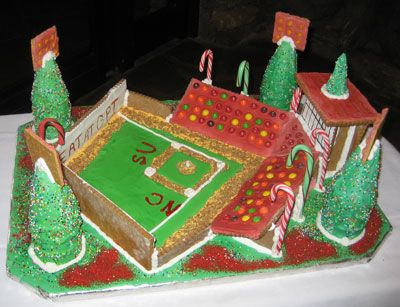 Gingerbread Baseball Stadium: Another creative gingerbread house from this year's 2009 Grove Park Inn gingerbread house competition.