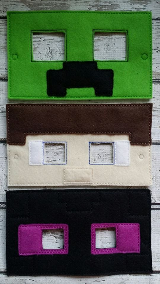 Minecraft Masks made and sold by Heart Felt Embroidery. $7 yes we ship and do paypal! www.facebook.com/heartfeltembroidery Design credit - Gracefully geeky