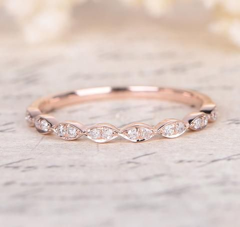 Pave Diamond Wedding Band Half Eternity Anniversary Ring 14K Rose Gold