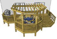 This single level deck features an octagon pergola positioned in the front center of a 26' x 10' base deck. On one side of the pergola there is an attractive dovetail stair and on the opposite side there is a large grill area. #timbertech #deck