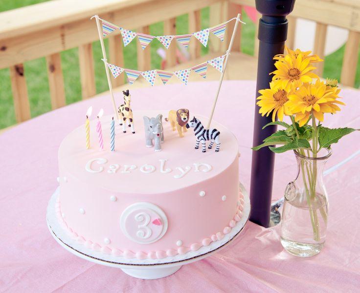 Girl animal birthday cake