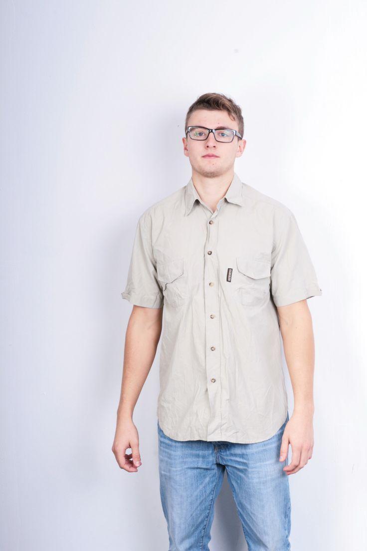 Napapijri Geographic Mens L Outdoor Shirt Beige Cotton Nylon Short Sleeve