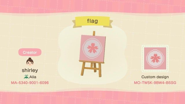 I Made A Sakura Flag For My Island I Thought I D Share It I Also Made Another Sakura Desig New Animal Crossing Animal Crossing Game Animal Crossing 3ds