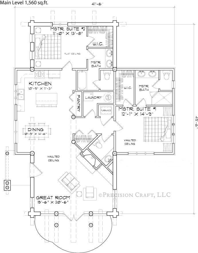 Small log cabin floor plans telluride rustic log cabin for Luxury log home floor plans