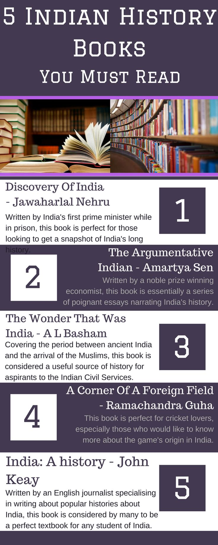 Learn about some of the best Indian Literature there is to read in this infographic. View the original infographic here: https://www.canva.com/design/DACVMLdiHDA/bnQbxri27uDyaNzbQQm6BA/view?utm_content=DACVMLdiHDA&utm_campaign=designshare&utm_medium=link&utm_source=sharebutton  Also, to find out more about Indian history books, visit http://www.motilalbooks.com/  Contact Us: 367 High Street,  London Colney,  St. Albans,  Hertforshire,  AL2 1EA