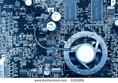 stock photo : Computer chip top view. Blue tint.