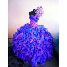 fijne blauwe en paarse quinceanera bal jurk sweet 16 jurken nieuwste kleurrijke organza puffy jurken ruches quinceanera jurk(China (Mainland))