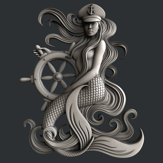 3d STL models for CNC router mermaid Cnc router, Stl