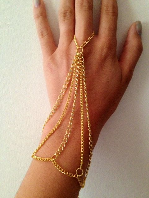 Gold hand chain chain jewelry body armor hand by CameronCouture, $16.00