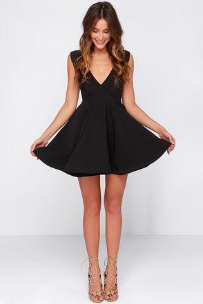 Cute Black Dress - Skater Dress - LBD - Structured Dress - $47.00
