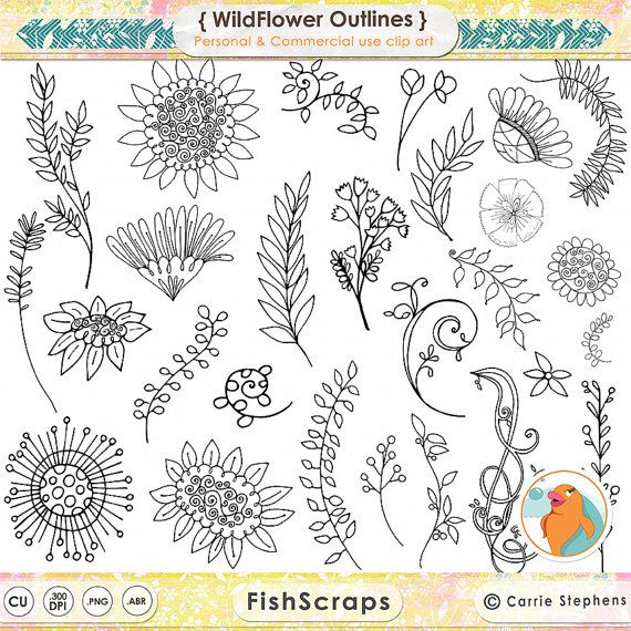 Wild Flower Doodles  Boho Foliage & Hand Drawn Leaves and Flower ClipArt - Floral Clip Art - Instant Download - Flower Photoshop Brushes