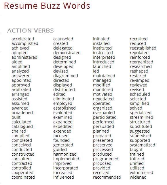 resume verbs
