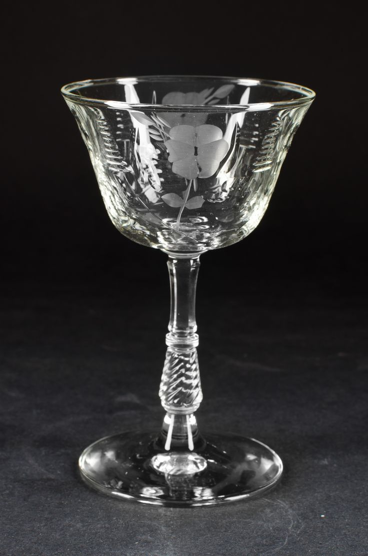"""etched crystal patterns of 1930's - 1940's   Small Crystal Wine Glass   ? oz.   Maker: ?   Pattern: """"Daisies ..."""