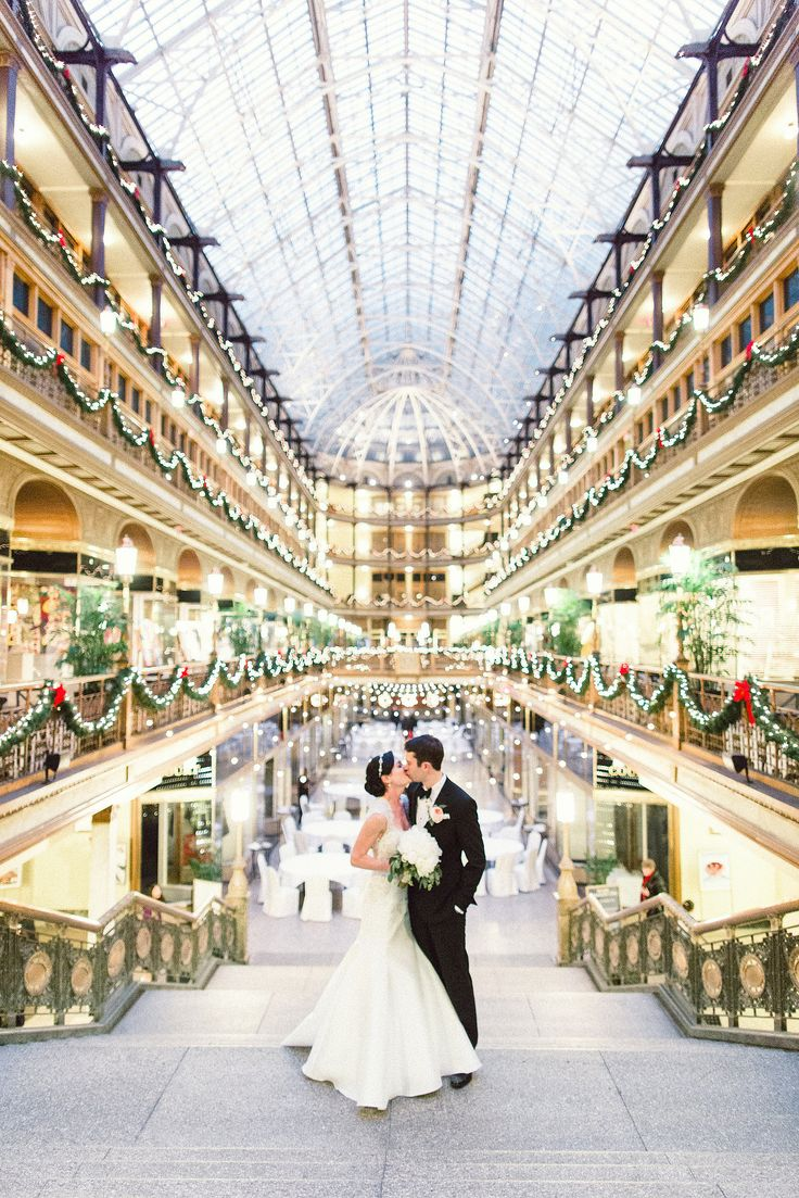 New Year's Eve real Cleveland wedding at The Arcade, photo by Lauren Gabrielle, gown from Something White | Boutique Bridal Book CLE