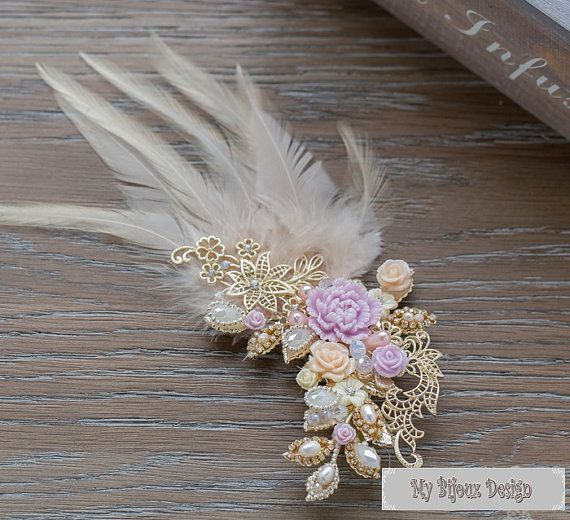 Feather Wedding HeadpiecePurple Rose Butterfly by MyBijouxDesign