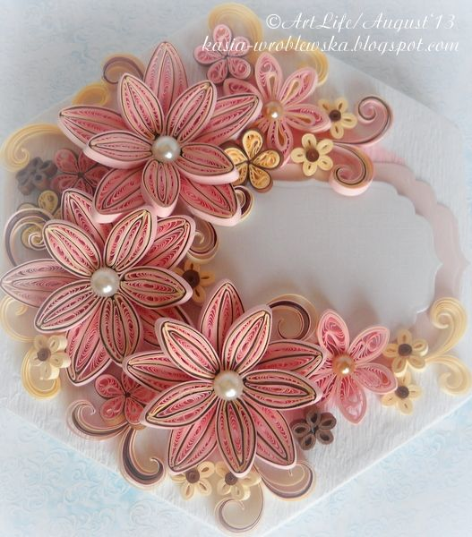 *QUILLING ~ Decorated Box In Three Colours: Ecru, Pink And Brown By Kasia