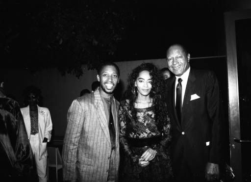Jeffrey Osborne (left), Jody Watley and Tom Bradley pose for a picture at the Black Radio Exclusive Conference held at the Universal Sheraton and Registry Hotels. Photo by Guy Crowder.