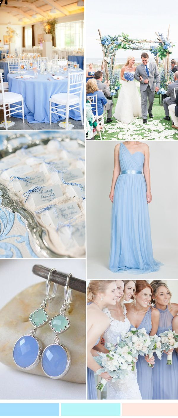 periwinkle blue, mint and peach orange wedding ideas with tulle bridesmaid dresses
