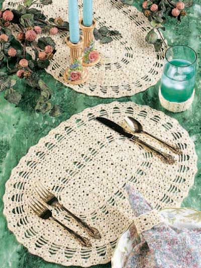 3 Piece Table Setting - Placemat, Napkin Ring & Coaster  free crochet pattern