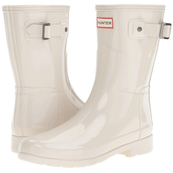Hunter Original Refined Short Gloss (Parchment) Women's Rain Boots (€110) ❤ liked on Polyvore featuring shoes, boots, mid-calf boots, short rain boots, white mid calf boots, white boots, white rain boots and waterproof boots