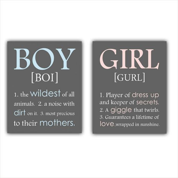 BOY and GIRL definition print or canvas set a by ThePrintsCess
