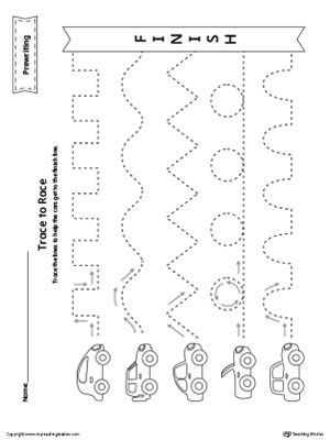 Prewriting Line Tracing to Race Worksheet Worksheet.Trace the lines to help the cars get to the finish line in this  printable worksheet.