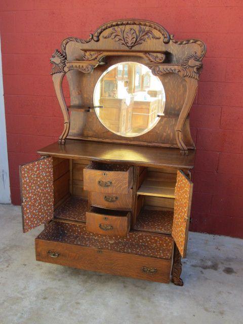 American Antique Sideboard Server Buffet Antique Furniture