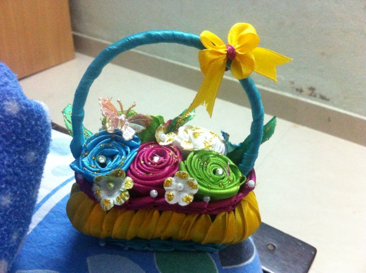 Satin basket.easy craft with soap and satin ribbon with ball pins
