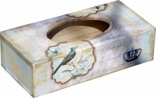 caja de pañuelos vintage azul  madera,papel de arroz,pinturas y barnices acril decoupage