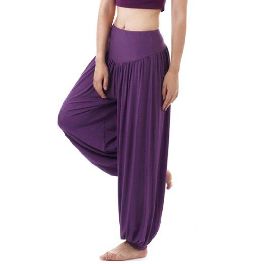 Andux Zone Super morbido Modal Pantaloni Lunghi da Yoga,Aladin pant SS-W08-K (Viola-M)