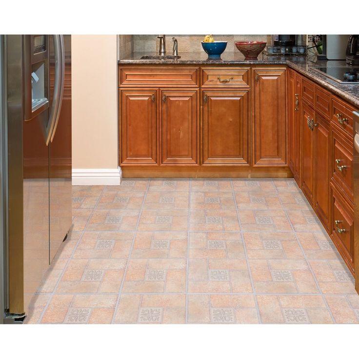 ACHIM Tivoli Terracotta Motif Center 12x12 Self Adhesive Floor Tile - 45 Tiles/45 sq Ft.