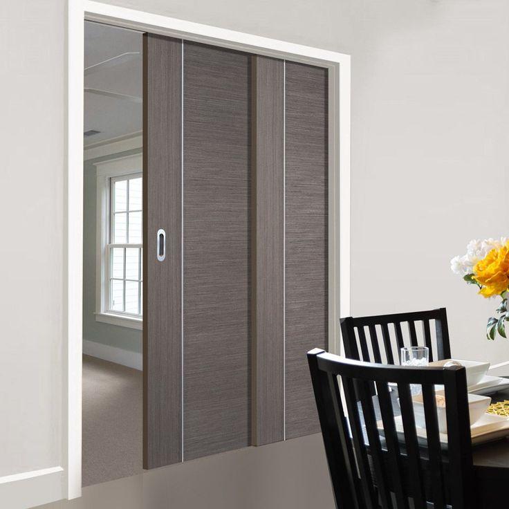Twin Telescopic Pocket Chocolate Grey Alcaraz Doors - Prefinished.      #pocketdoor  #interiordesign  #oakdoor  #telescopicdoors