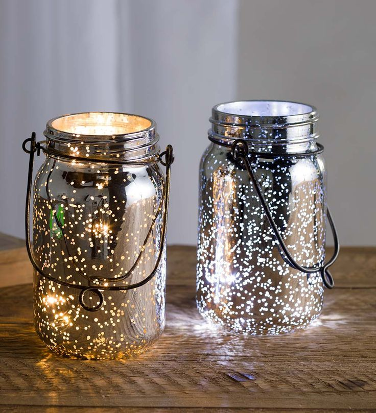 Lighted Mercury Glass Mason Jars Set Of 2 Indoor Holiday