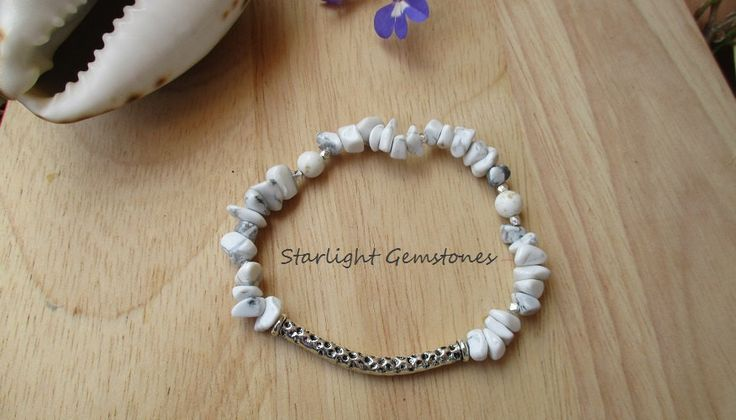 Boho Chic Beach Inspired White Howlite Gemstone Chip Bracelet with Hill Tribe Silver Spacers & Pewter Curved Spacer by StarlightGemstones on Etsy