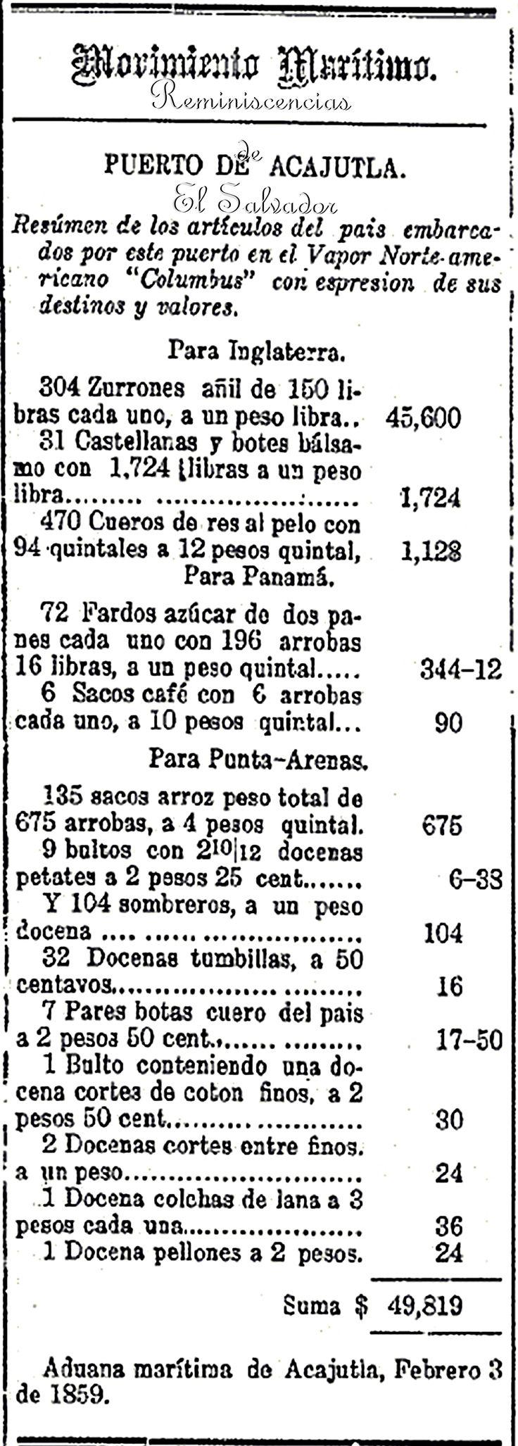 Aduana marítima de Acajutla, Febrero 3 de 1859 Movimiento Maritimo Puerto de Acajutla,  Gaceta del Salvador, 1859