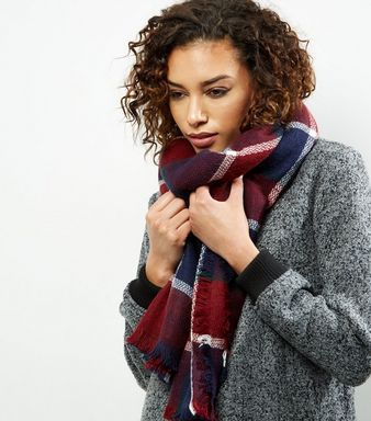 Navy Check Scarf | New Look