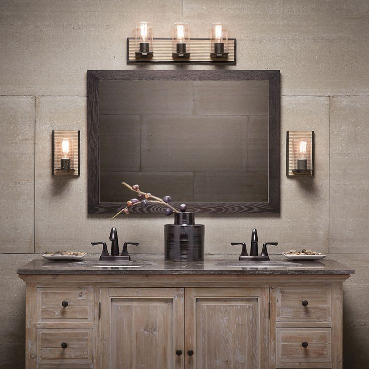 Web Photo Gallery Millwright Light Bath Light and Light Wall Sconce in Distressed Antique Gray DAG