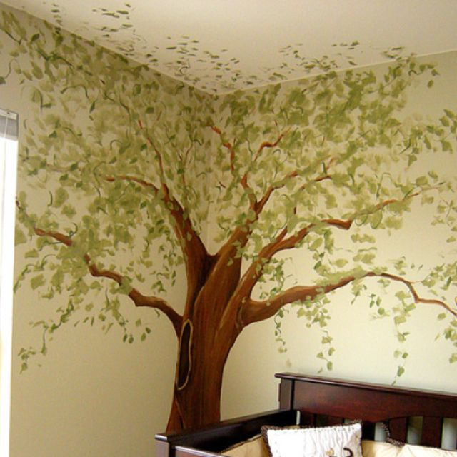 Jungle Wall Painting Stencil Tree Baby Room