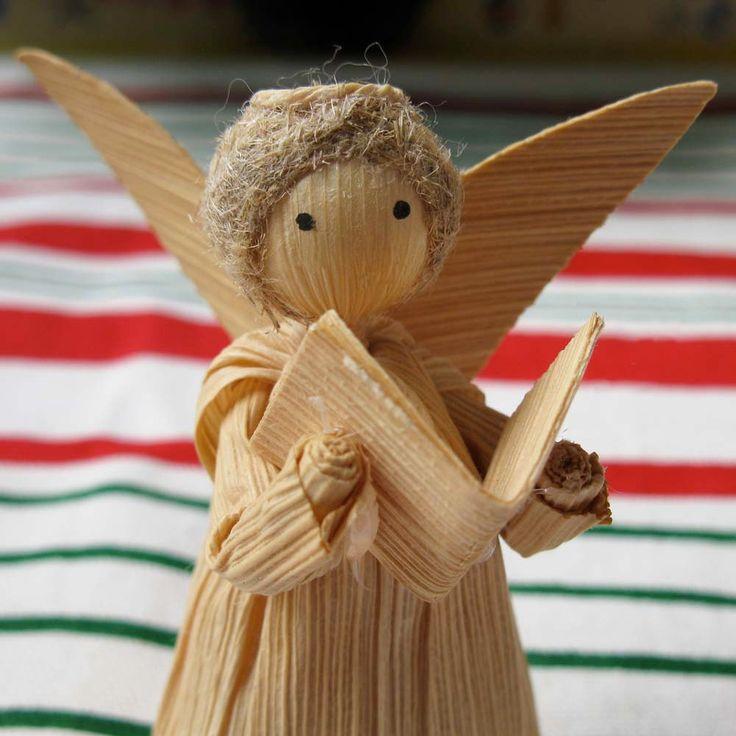 Vintage Corn Husk Angel Doll, Christmas Holiday Decorative Ornament, Singer. $4,00, via Etsy.