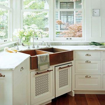 Copper Corner Sink Vent in doors keeps space dryer and would then work for veggies. Break up a white kitchen with a warm, rich copper apron-front sink in a prominent corner location. Add matching cabinet hardware or towel bars to tie the look together