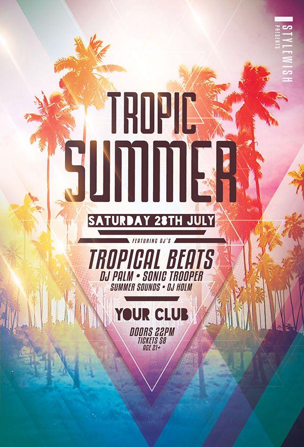 Tropic Summer Flyer Template Print Ready Designs Pinterest