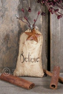 Tattered Sisters Primitives: Primitive Christmas Believe bag ornie: