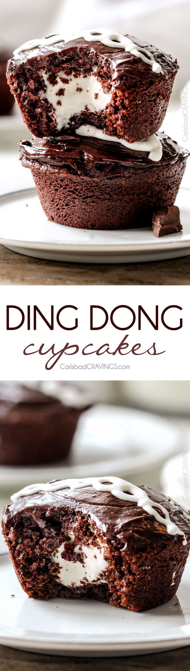 Ding Dong Cupcakes are a rich, moist chocolate cupcake stuffed with creamy marshmallow filling and smothered in a silky chocolate ganache! You will never want to buy Ding Dongs from the store again!