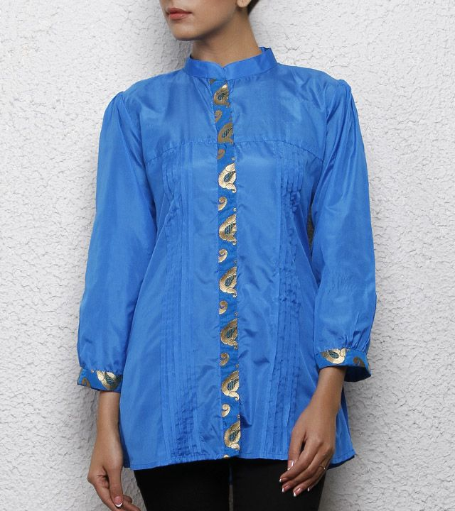 mixed silk tunic with brocade