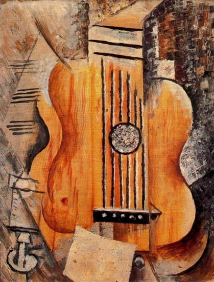 Pablo Picasso. Guitare `J`aime Eva`. 1912 year - Eva died which left Picasso heartbroken