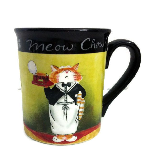 Meow Chow 16 oz Coffee Mug Cup Certified International Tracy Flickinger Cat Chef