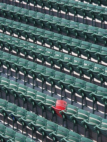 The Lucky Chair, Fenway Park.  Red seat at Fenway Park in right center field. Ted Williams hit a home run 502 ft on June 9, 1946.