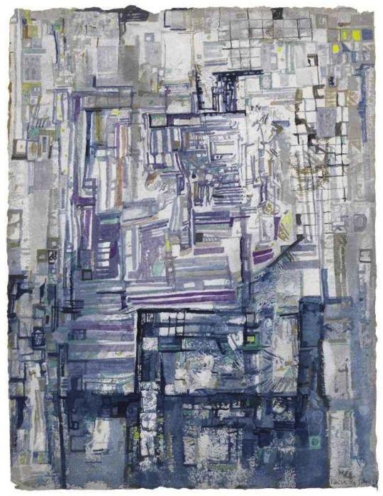 Maria Helena Vieira da Silva (Portuguese, 1908-1992), L'Escalier [The Stairway], 1962. Tempera on paper, 66 x 51 cm.