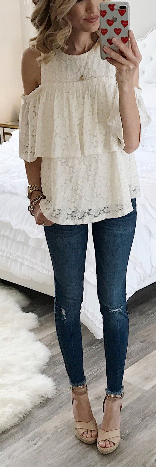 White Open Shoulder Lace Top / Ripped Skinny Jeans / Beige Sandals