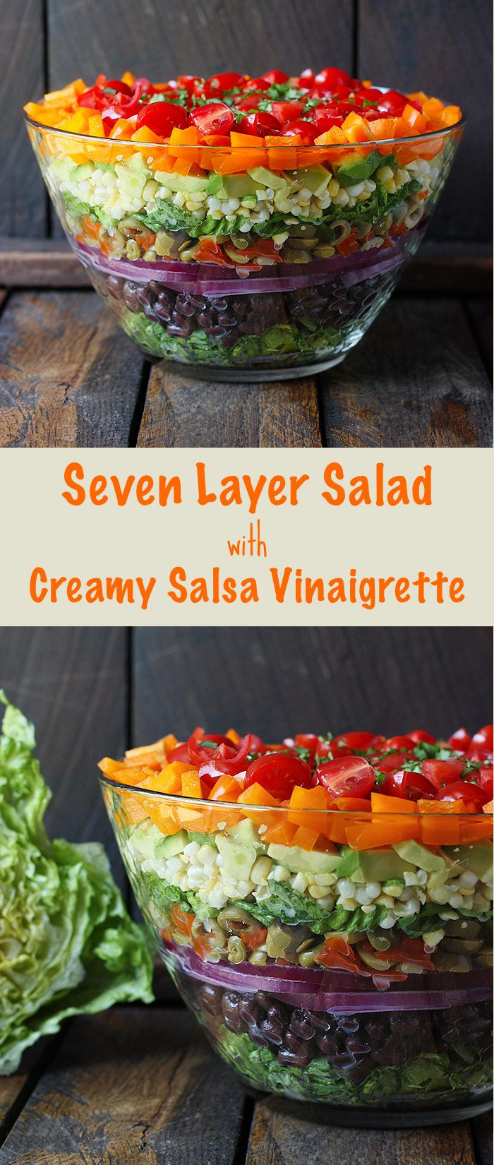 Seven Layer Salad with Creamy Salsa Vinaigrette | SoupAddict.com - this fresh, no gloppy-layers-of-mayo salad is a showstopper on your table (and healthy, too).